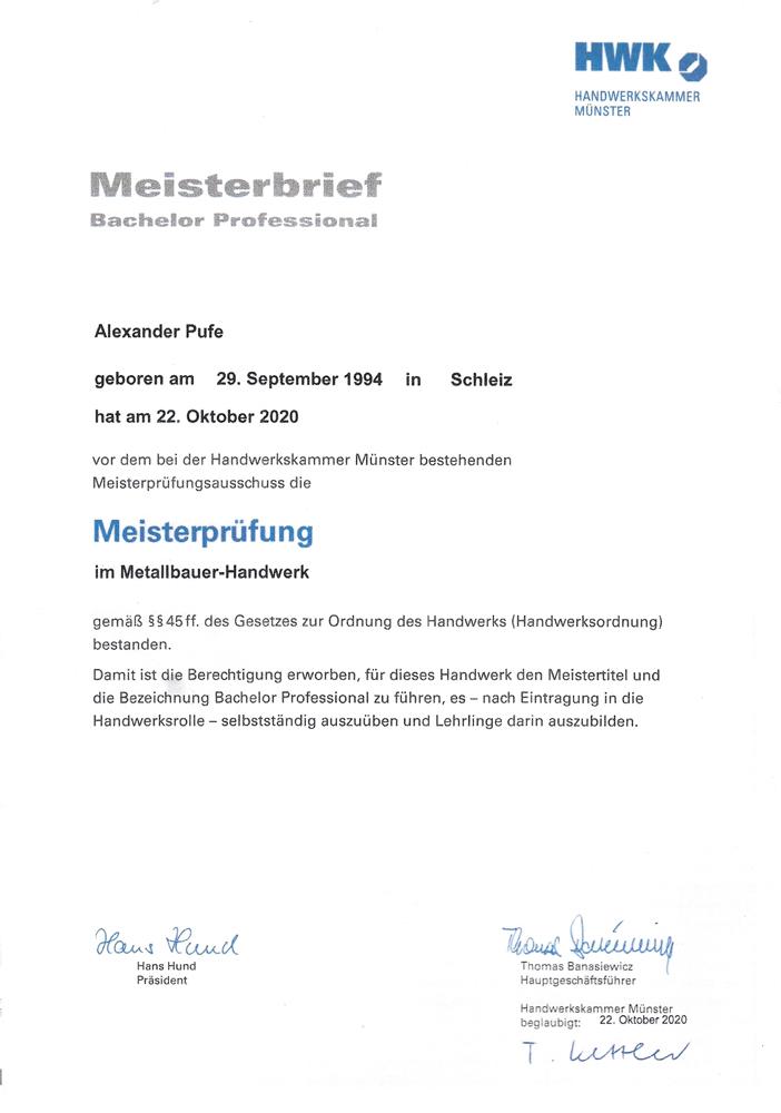 Meisterprüfung im Metallbauer-Handwerk