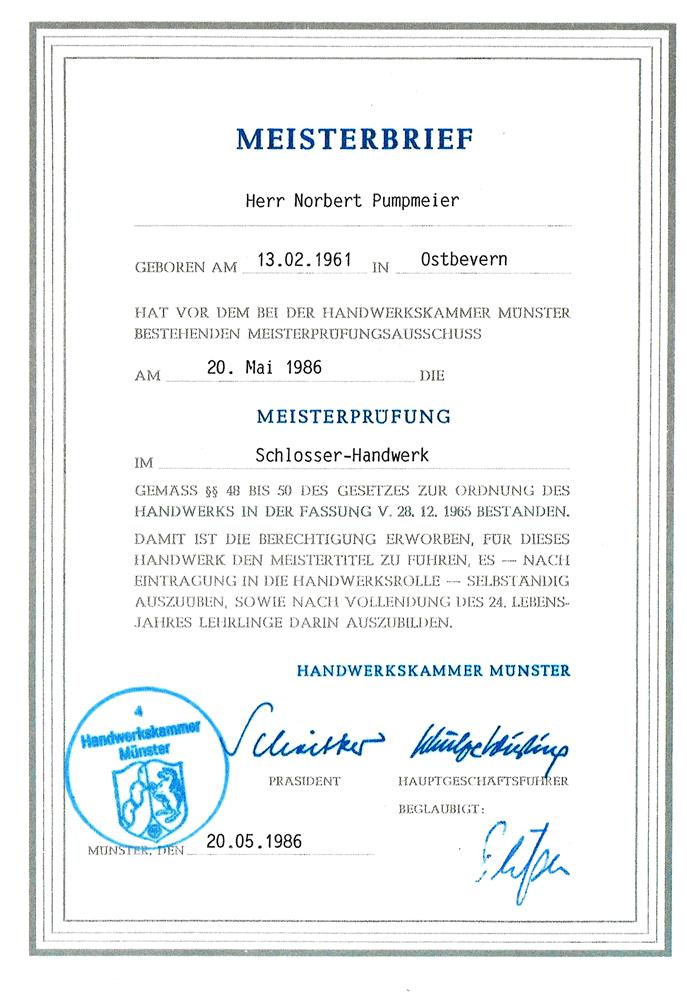 Meisterprüfung im Schlosser-Handwerk