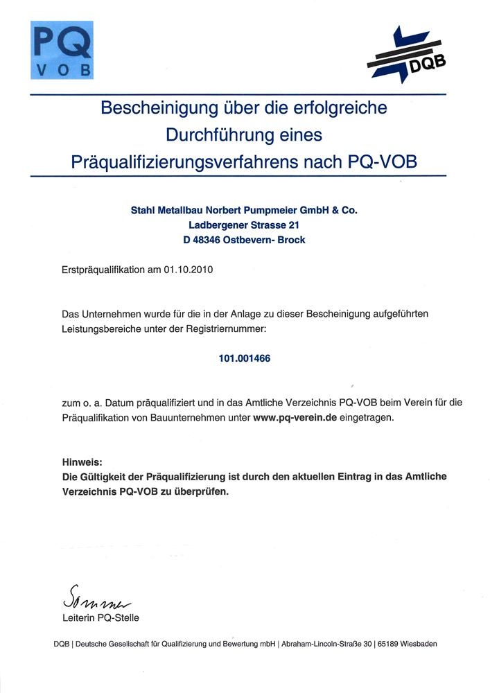 Präqualifizierung nach PQ-VOB